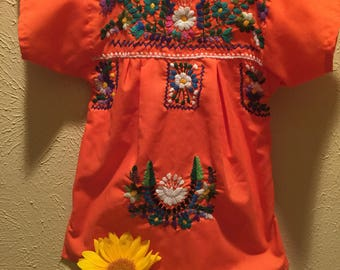 Baby Embroidered Orange Mexican Dress