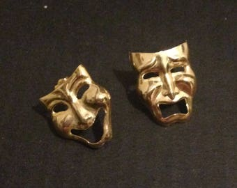 Vintage theatrical gold tone pierced earrings