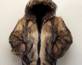 Men's jacket  wolf fur, coyote, new, size M