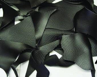 8 oz Black Croc Print Strap Leather Pieces 5 lb bag