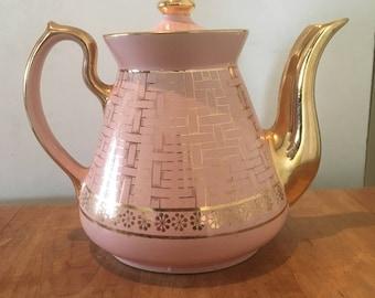 Vintage 1950's Hall 6 cup pink teapot (w/gold basket weave)