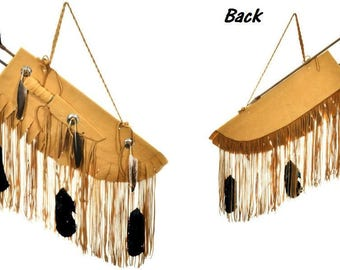 Handmade Buckskin Quiver with Arrows Bone Knife Concho Feathers