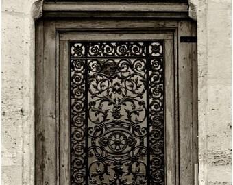 Sepia Filigree Door Print on Canvas, Paris Photography, 16x20 Canvas Wrap Wall Art