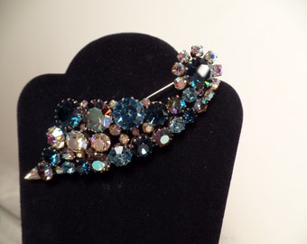 Made in Austria Brooch with Shades of Blue-Large Size