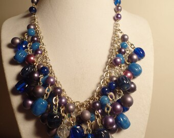 1950's Fringe Style Bead Necklace-Blues and Purples