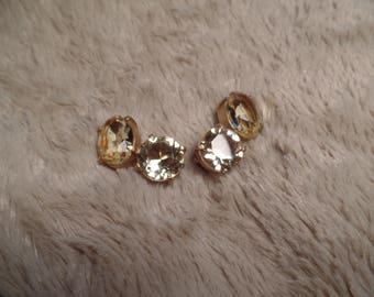 1960's Earrings with High Quality Citrine Colored Stones Signed DiNicola