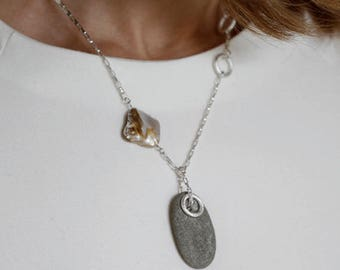 Oval necklace- oval pendant necklace- summer necklace- beach necklace- summer jewelry- casual necklace- shell necklace- gemstone necklace