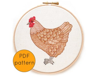 Hand Embroidery Pattern PDF Download, Hen, Chicken embroidery pattern