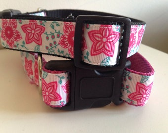 Large 1 inch Pink and Teal Flowers Dog Collar