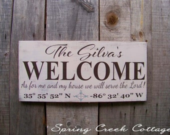 Signs, Welcome Signs, Porch Decor, Door Decor, Rustic, Nautical, Name Signs, Farmhouse, Handpainted, Lake House, Housewarming Gifts, Cabin
