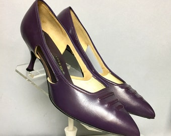 PURPLE Leather High Heel Shoes, Vintage 50's STILETTO Heels, size 8.5