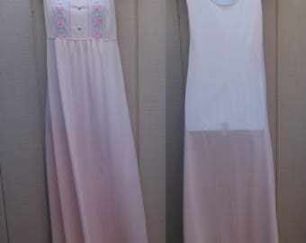 Vintage 70s Pastel Pink Nylon Tricot Nightgown / Smock A-Line // Sz Med - Lge