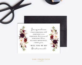 Personalized Will You Be My Bridesmaid Card, Wedding Party Proposal | Something Borrowed | HOLLY Collection | Editable PDF, Instant Download