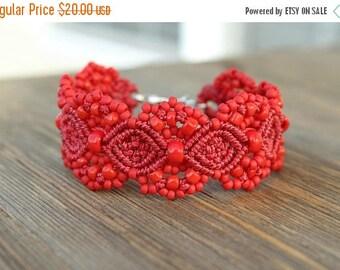 SALE Micro-Macrame Beaded Cuff Bracelet - Red