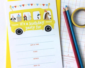 Yellow School Bus Birthday Party Invitation - Fill in the Blank Invites - Set of 10 Party Invitations - Animal Party, Children's, Kid Party