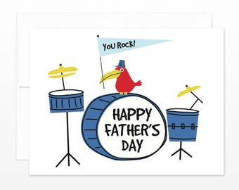 Happy Father's Day You Rock Drum Kit Greeting Card, Card for Dad, Pops, Papa, Father, Daddy, Best Dad, Rock n' Roll Dad, For Him