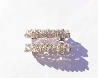 Swarovski Crystal Beaded Barrettes,Paradise Sparkle Hair Clip,Handmade,Set of 2