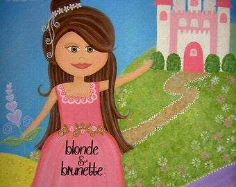 Kids Art Canvas Children's Decor - Fairytale Castle - Custom Girls Room Kids Wall Art Baby Nursery, Child & Teen - My Sweet Princess by TLW