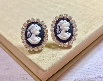 Large Cameo Stud Earrings, Victorian Lady, Rhinestone Framed Cameo Studs, Vintage Style Romantic Jewelry, Statement Stud Earrings