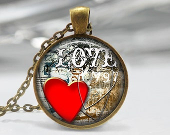 Heart Art Pendant, Red Heart Pendant, Valentines Pendant, Red Heart Necklace, Red Heart Key Ring, Bronze, Silver, Valentine's Day Gift 1324