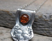 30% OFF WINTER SALE Blesssed Lughnasadh necklace   ... antiqued recycled fine silver spoon pendant with baltic amber