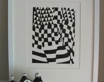 "BLOWING SKIRT 2 - Linoleum Block Print - Black & White Abstract Modern Print - Minimalist Print 8x10"" - Ready to Ship"