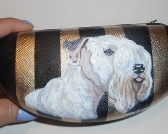 Sealyham Terrier Dog Hand Painted Eyeglass case Sunglass Case