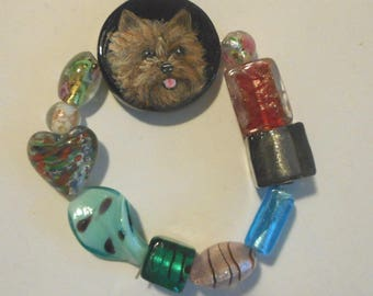 Cairn Terrier Dog Hand Painted Beaded Bracelet OOAK Jewelry