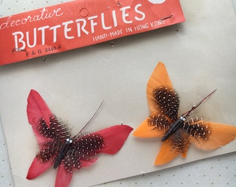 Vintage Decorative Feather Butterflies