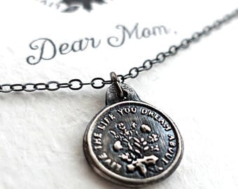 Dear Mom, Live the Life you Dream  Mothers Inspirational Necklace Gift with laurel design. Perfect Gift for Mom handmade ORIGINAL DESIGN