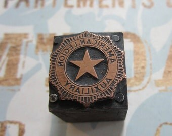 American Legion Auxiliary Vintage Letterpress Printers Block