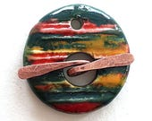 Toggle  Clasp Round  Multi colors Stoneware Ceramic Clay Handmade by Mary Harding