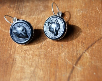 Wolf Earring - Fox Earrings - Dire Wolf Earrings - vintage black leather wolves or foxes with antiqued silver earwires