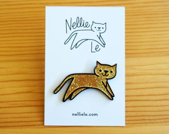 Gold Sparkle Cat Pin
