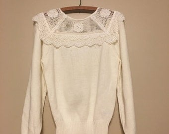 1980s Ivory Sweater with Lace Crochet Yoke byAvon Fashions
