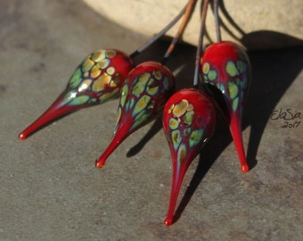 Red Raku - Handmade Lampwork Glass HeadPins, Choose finish and shape - SRA Elasia MTO