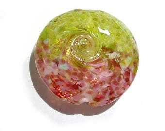 Handmade Glass Lampwork Bead, Pink Gardens Jumbo  Focal