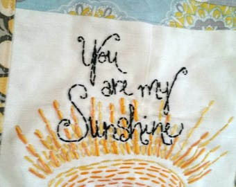 You are My Sunshine wall art Embroidery