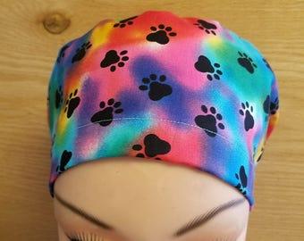 Euro Close New Paw Print Tie Dye Medical Surgical Scrub Hat Vet Nurse Chemo
