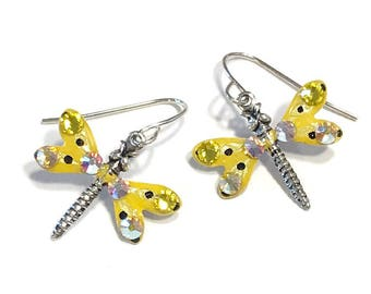 Dragonfly Earrings Sparkling Yellow
