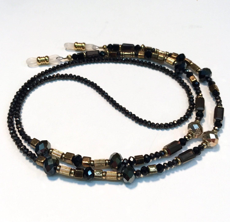 black and bronze beaded eyeglass chain