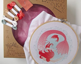 Mermaid Circle DIY Hand Embroidery Kit Hoop art embroidery pattern designs