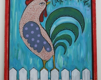 Folk art, Rooster, 16 x 20, acrylic, original art, Chinese New Year