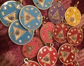 Tetragrammaton or Tetra charms, protection and security in various enamel colors on gold tone metal