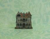 Dollhouse Miniature White & Orange Victorian House Stand Up