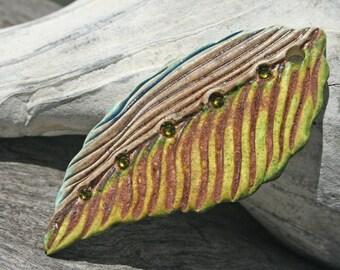 Handmade Stoneware Leaf Bead