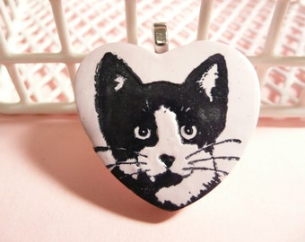 Cat Lover Gift, Tuxedo Cat Heart Pendant, Optional Necklace, Pin or Magnet, Pink Jewelry, Kitty Heart Jewelry, polymer clay