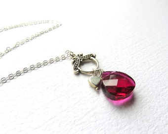 Raspberry Red Crystal Pendant on Chain, Valentine Necklace, Faceted Crystal and Silver Heart, Modern Crystal Necklace, Romantic Jewelry