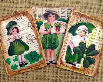 St. Patrick's Day Refrigerator Magnets Mixed Media Recycled Upcycled Vintage Original Collage Artwork Handcrafted Irish Celebrations