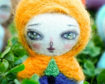 Anita, the woodlands girl - an adorable felted wool and fabric woodlands art doll handmade by mixed media artist and dollmaker, Danita